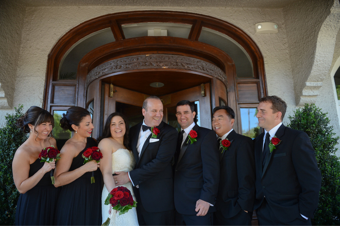 Wedding Party in Front of The Bernards inn Revolving Door by Bernards Inn in Bernardsville NJ