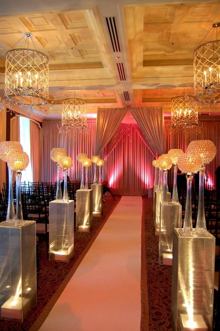 Indoor Wedding Reception Floral Decoration by Amaryllis Event Decor