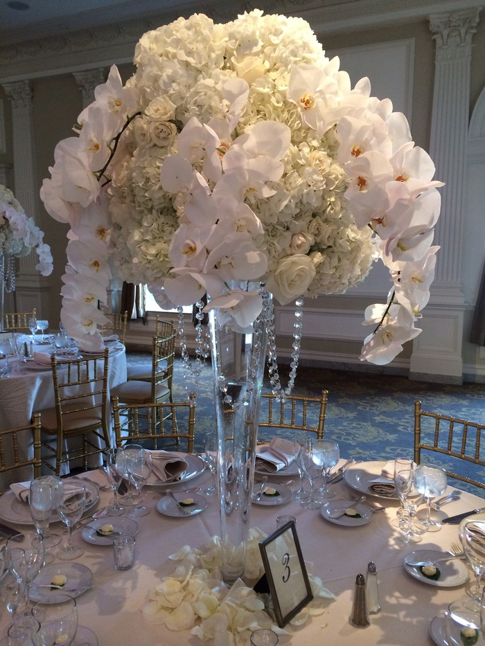 Wedding Reception Floral Centerpieces by Amaryllis Event Decor