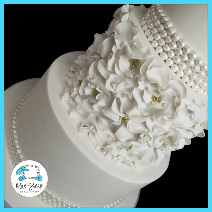 Ruffle Flowers And Pearls Wedding Cake Tiered White Fondant With