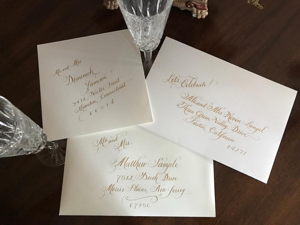 Hand Calligraphy on Invitation Envelopes - Gold Ink