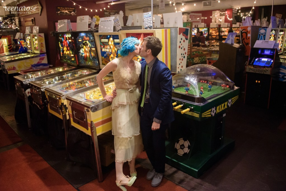 Anne & Mike: New Jersey Wedding Photography at the Silverball Museum Arcade in Asbury Park | Reena Rose Photography