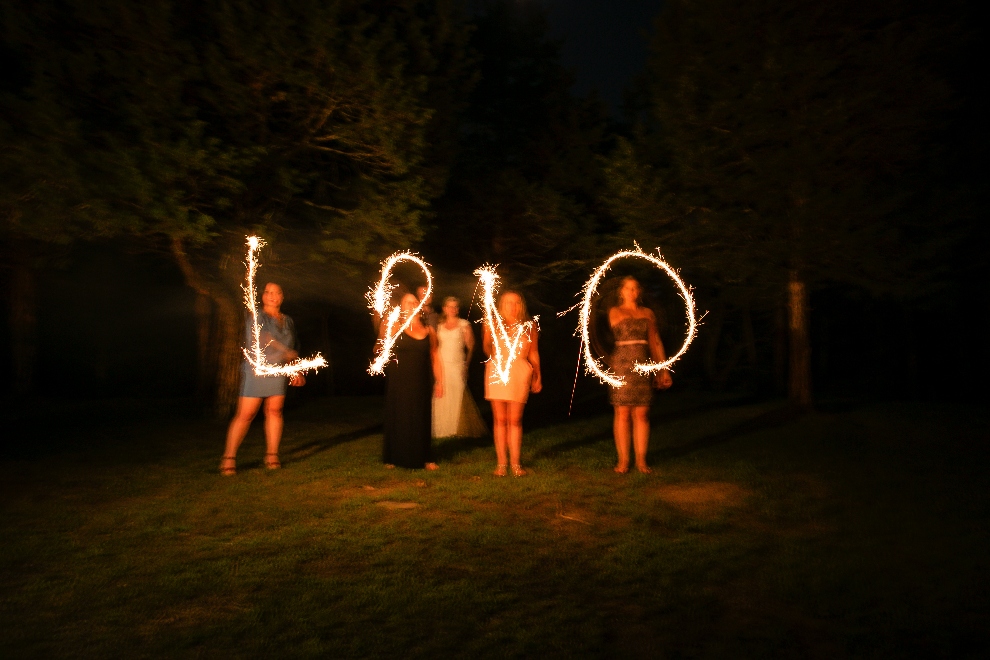 NY couple uses sparklers to spell out their love- Twin Lakes Resort in Hurley, NY