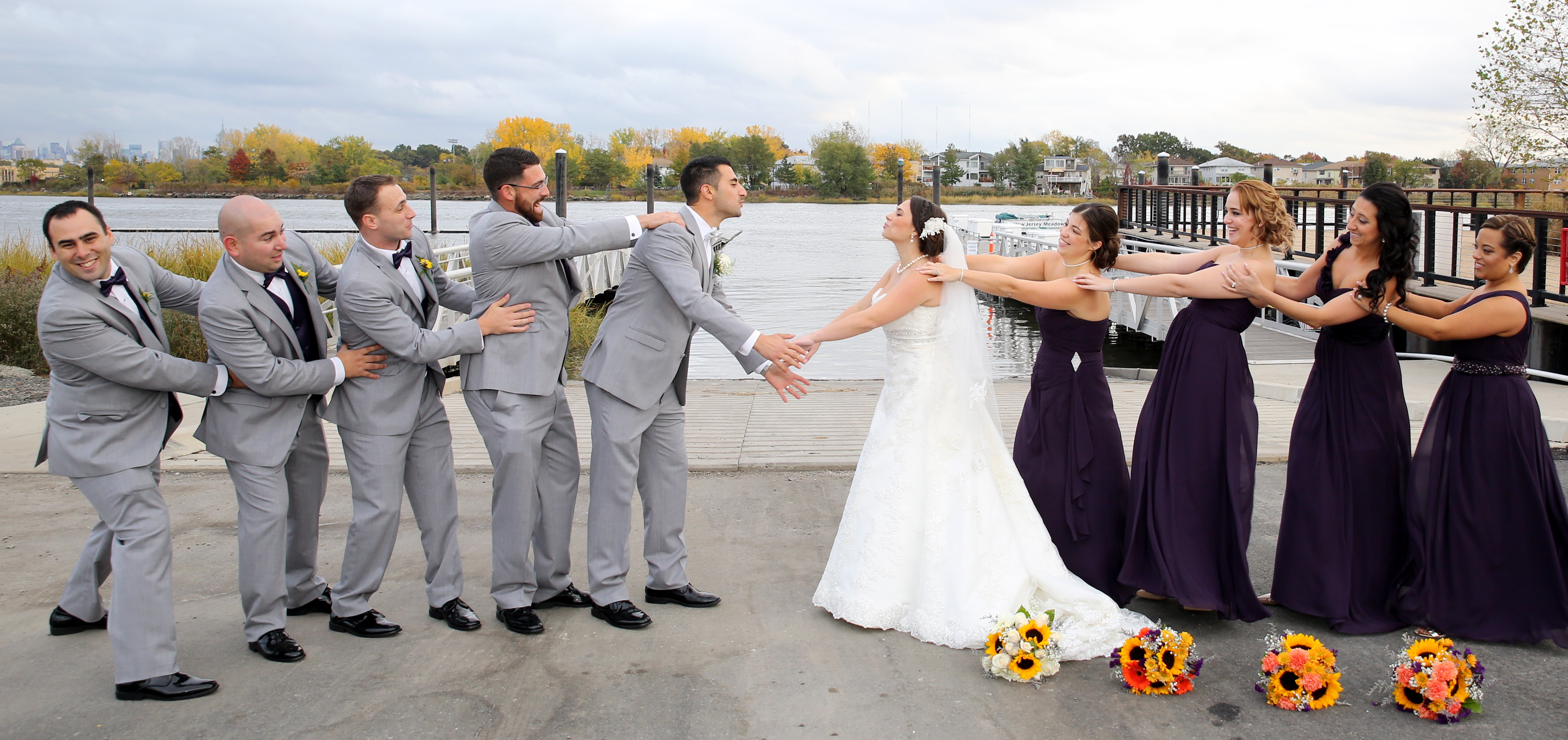 Bridal Party Plays Friendly Game of Tug-of-War as This New Jersey Couple Ties the Knot- The Fiesta in Wood Ridge, NJ