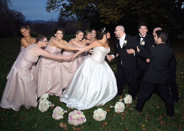 Bridesmaids vs. Groom as Husband and Wife Begin the Rest of Their Lives Together- The Skyland Manor Castle in Ringwood, NJ.
