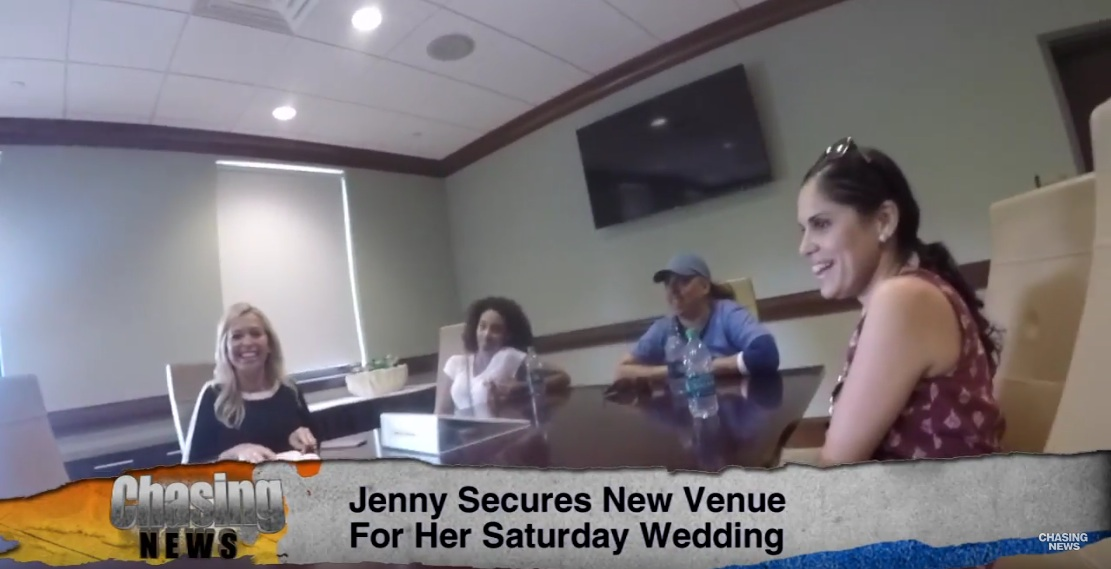 Clubhouse at Galloping Hill Golf Course and Chasing News Save The Day For Jenny's NJ Wedding